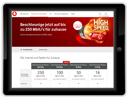 Breitband Internet Anbieter Vodafone