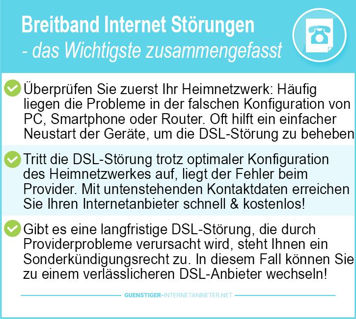 Breitband Internet Störungen