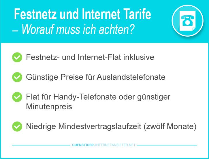 Festnetz und Internetanbieter Tarife